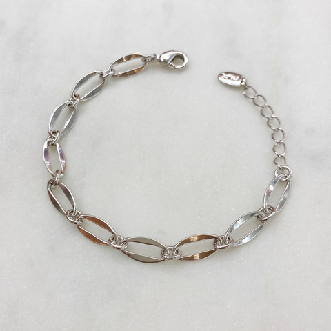 Браслет-цепь из овальных тонких звеньев (серебристый)