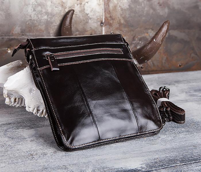 BAG432-2 Красивая мужская сумка с ремнем на плечо из натуральной кожи фото 04