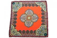 Итальянский платок из шелка оранжевый с орнаментом 5130