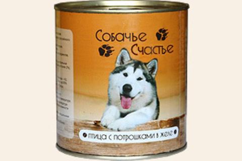 Собачье счастье Птица с потрошками в желе, 750г