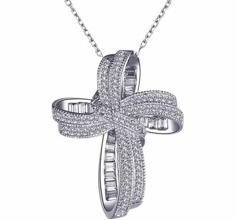 37928- Объемный крестик из серебра с цирконами бриллиантовой огранки