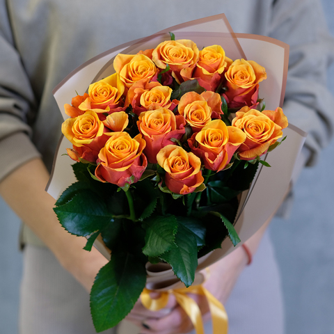 Букет 13 оранжевых роз Espana
