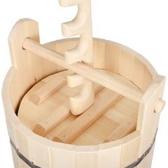 Кадка из липы для воды и заготовки солений с гнётом и замком 30 л