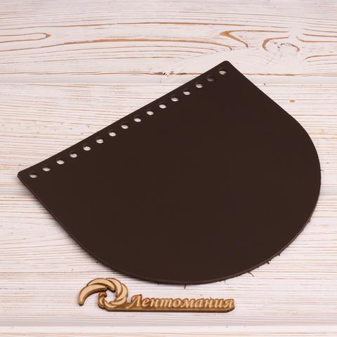 """Клапан для сумочки кожаный """"Темно-коричневый"""" 19*16 см"""