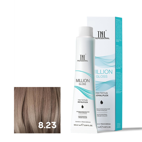 Крем-краска для волос TNL Million Gloss оттенок 8.23 Светлый блонд перламутровый золотистый 100 мл