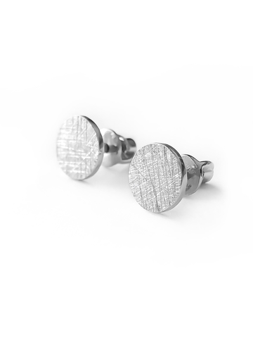 Серебряные серьги пусеты «круглые» сатиновые