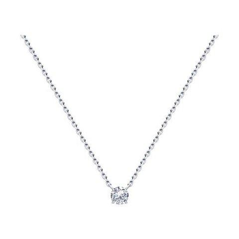 94074539 - Фианит в невидимой оправе на цепочке из серебра
