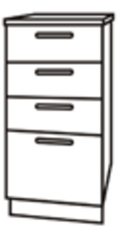Чили ШНЯ 400 шкаф нижний с 4мя ящиками