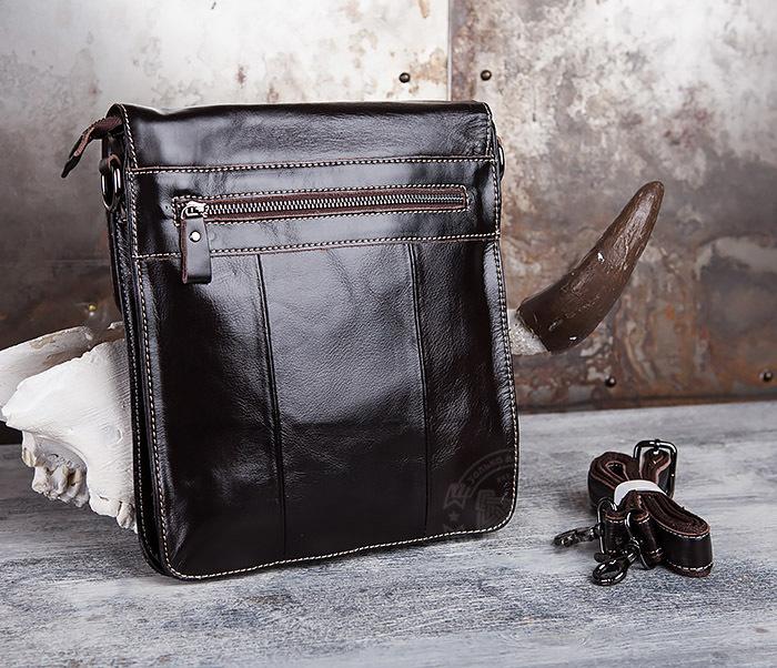 BAG432-2 Красивая мужская сумка с ремнем на плечо из натуральной кожи фото 05