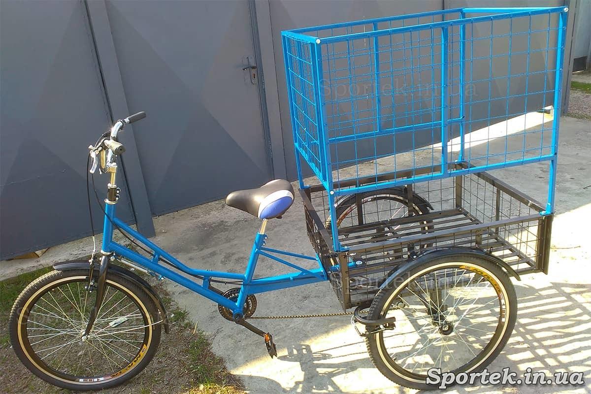 Триколісний вантажний велосипед 'Квітковий' для об'ємних і важких вантажів синьо-чорний