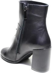 Ботильоны кожаные черные каблуке