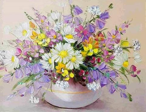 Алмазная Мозаика 30x40 Букет полевых цветов в вазе