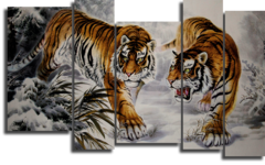 """Модульная картина """"Тигры"""""""