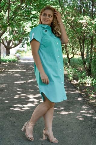 Неля. Повсякденна сукня-сорочка плюс сайз. М'ята.