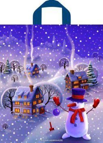 Новогодний пакет с петлевой ручкой 42х38 (37) Т НГ (ПНД) (Вечерняя деревенька) 50 шт
