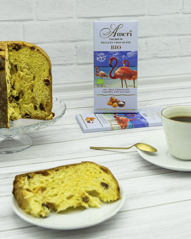 Молочный Шоколад Ameri 40 % Какао с Карамелью и Морской Солью БИО 100 гр.