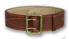 Ремень офицерский кожаный, коричневый, поясной (h=50мм)