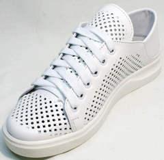 Модные кожаные кеды женские белые ZiKo KPP2 Wite.