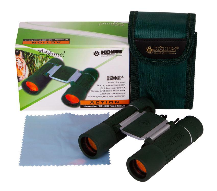 Бинокль Konus Action 10x25 FF - фото 2 - комплект поставки