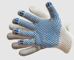 Трикотажные перчатки с точечным ПВХ покрытием