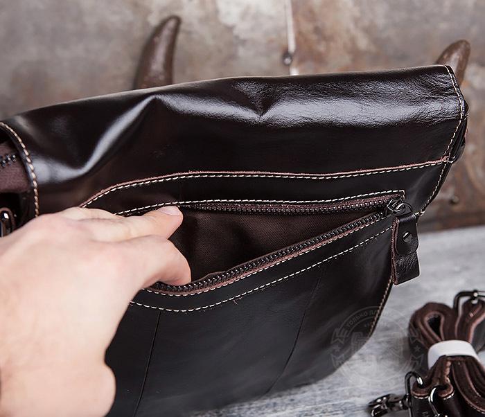 BAG432-2 Красивая мужская сумка с ремнем на плечо из натуральной кожи фото 07