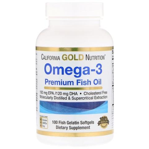 California Gold Nutrition Омега-3 рыбий жир высшего качества 100 желатиновых капсул с рыбьим жиром