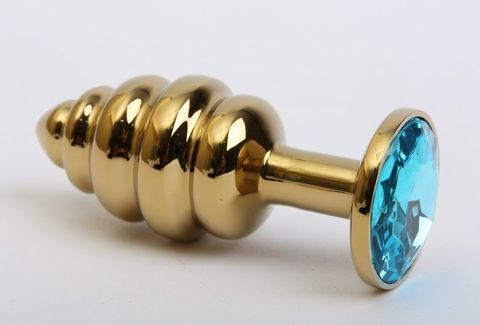 Золотистая ребристая анальная пробка с голубым стразом - 7,3 см.