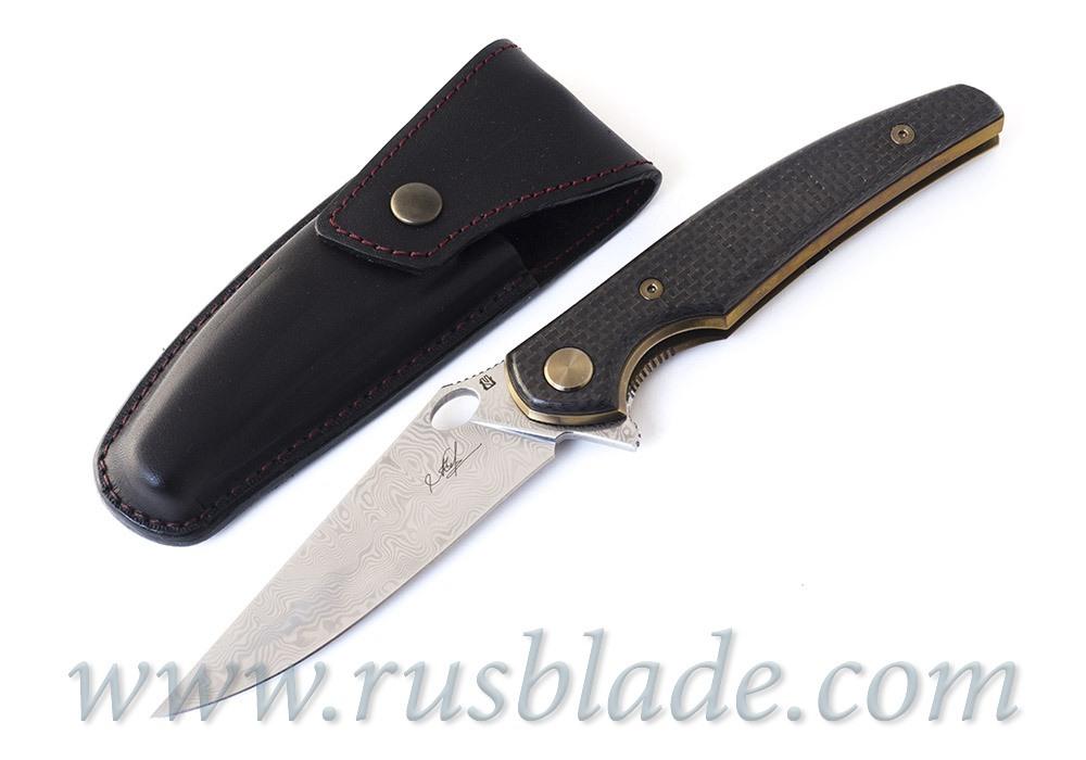 Cheburkov Golden Raven Damascus Folding Knife Gold Plated