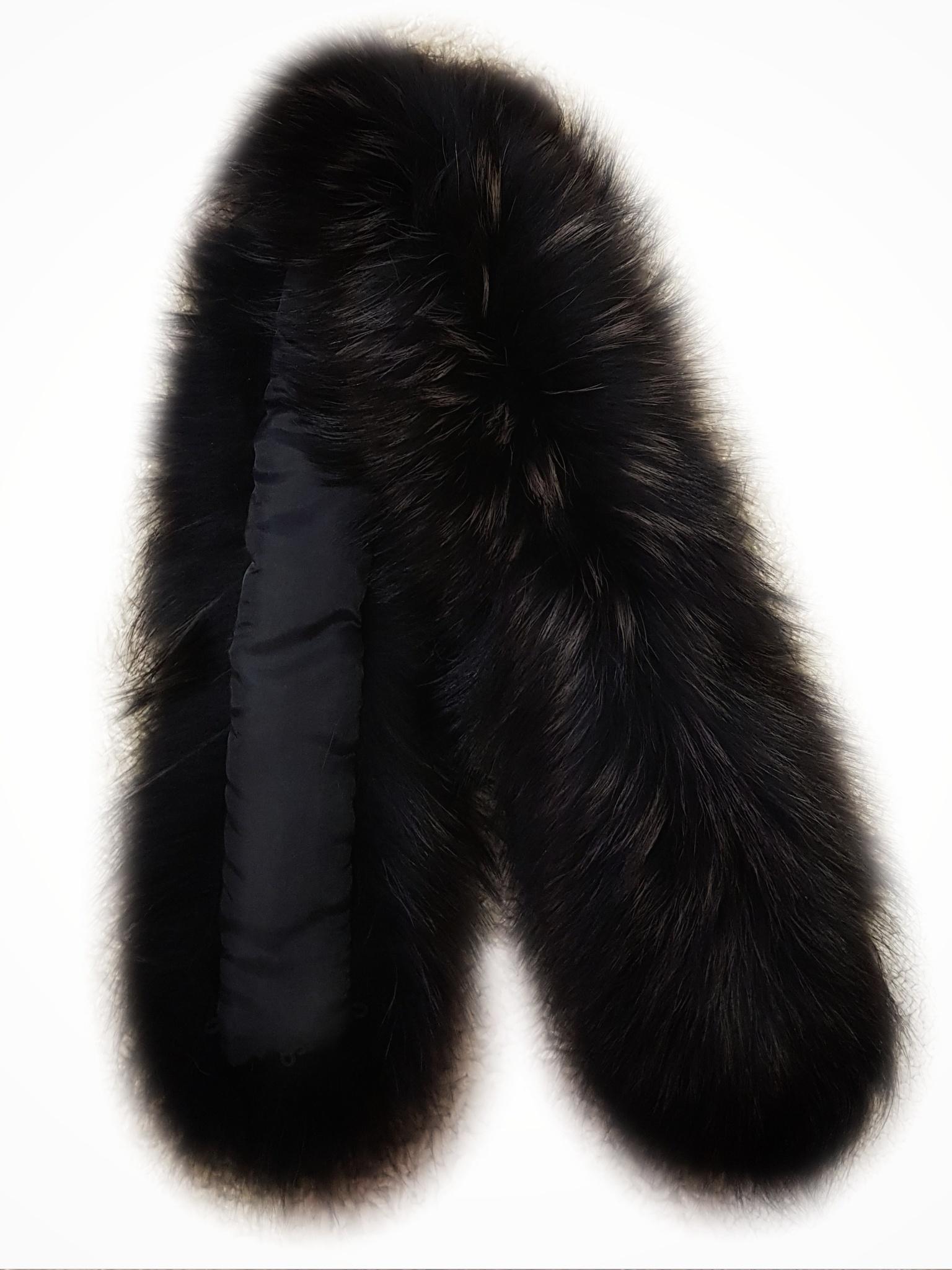 Опушка меховая на капюшон из натурального меха енот 80 см. Черная с золотистыми кончиками