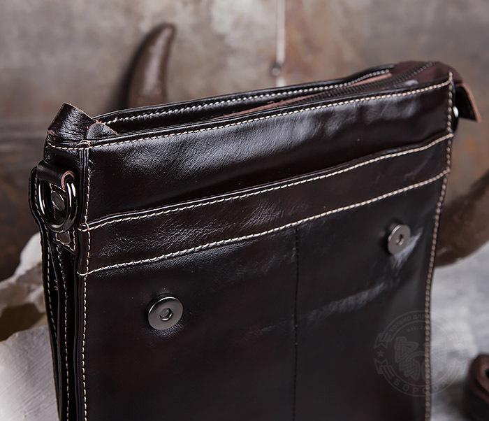 BAG432-2 Красивая мужская сумка с ремнем на плечо из натуральной кожи фото 08