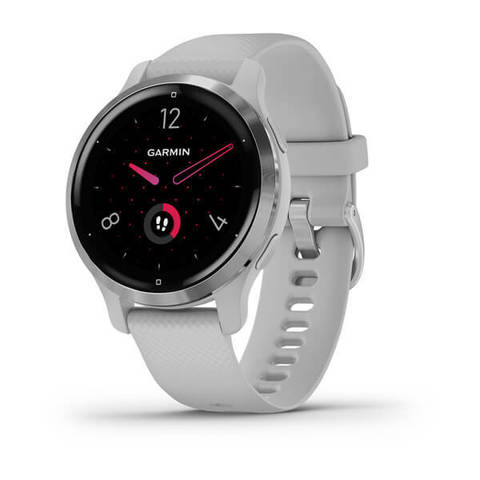 Garmin Venu 2S - Silver Stainless Steel Bezel with Mist Gray Case and Silicone Band