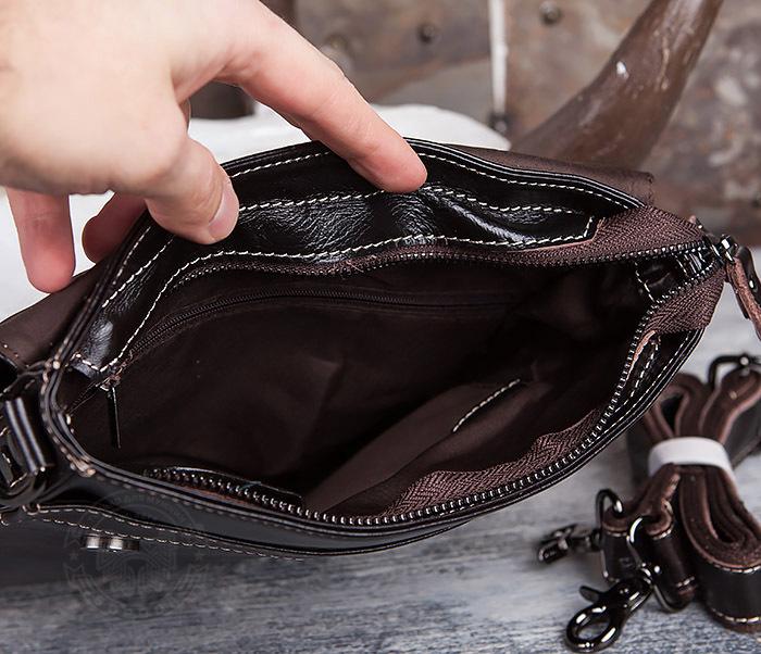 BAG432-2 Красивая мужская сумка с ремнем на плечо из натуральной кожи фото 09