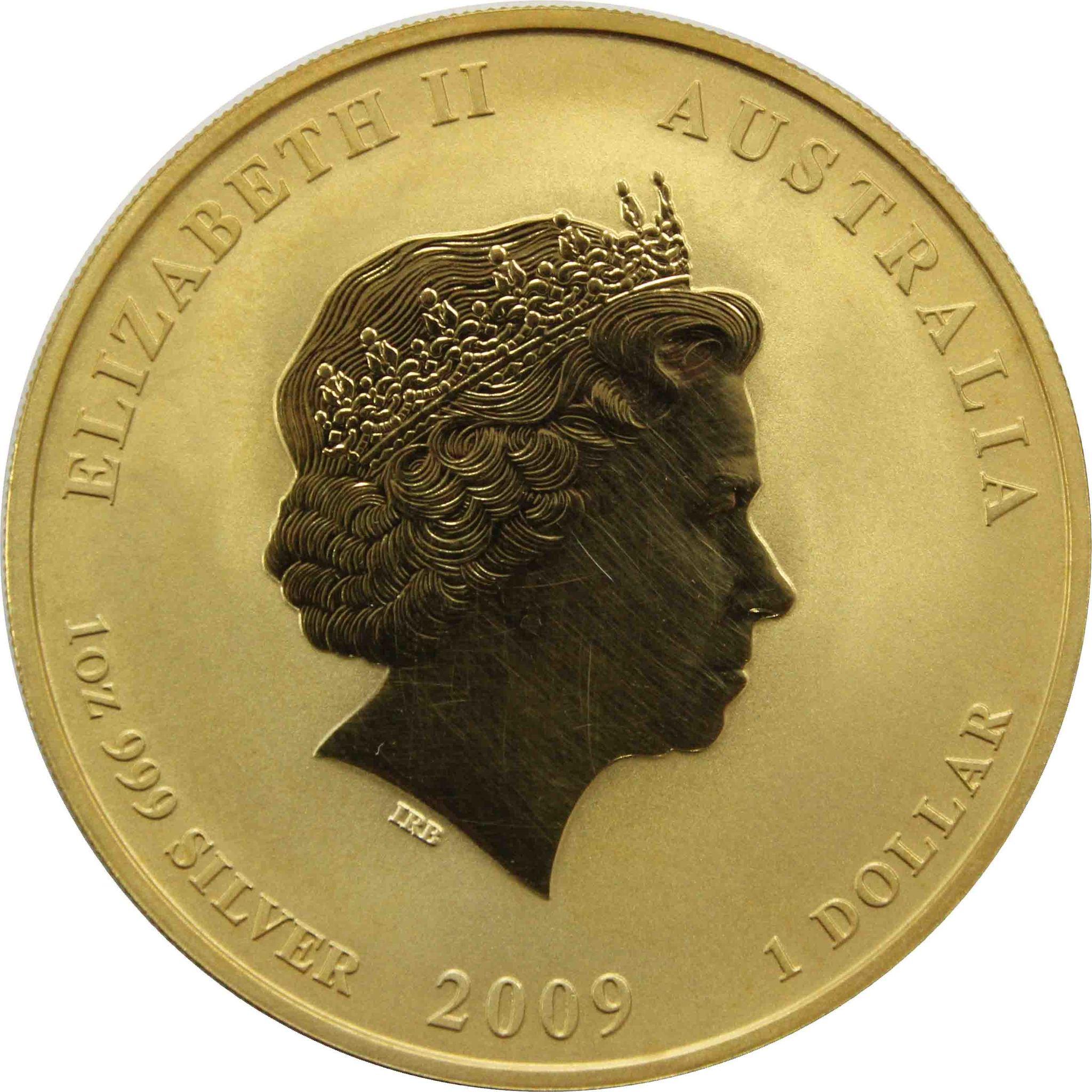 1 доллар. Год Быка. Австралия. 2009 год (в позолоте полностью)