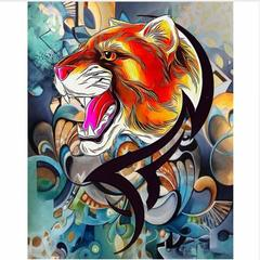 Картина раскраска по номерам 40x50 Разноцветный хищник