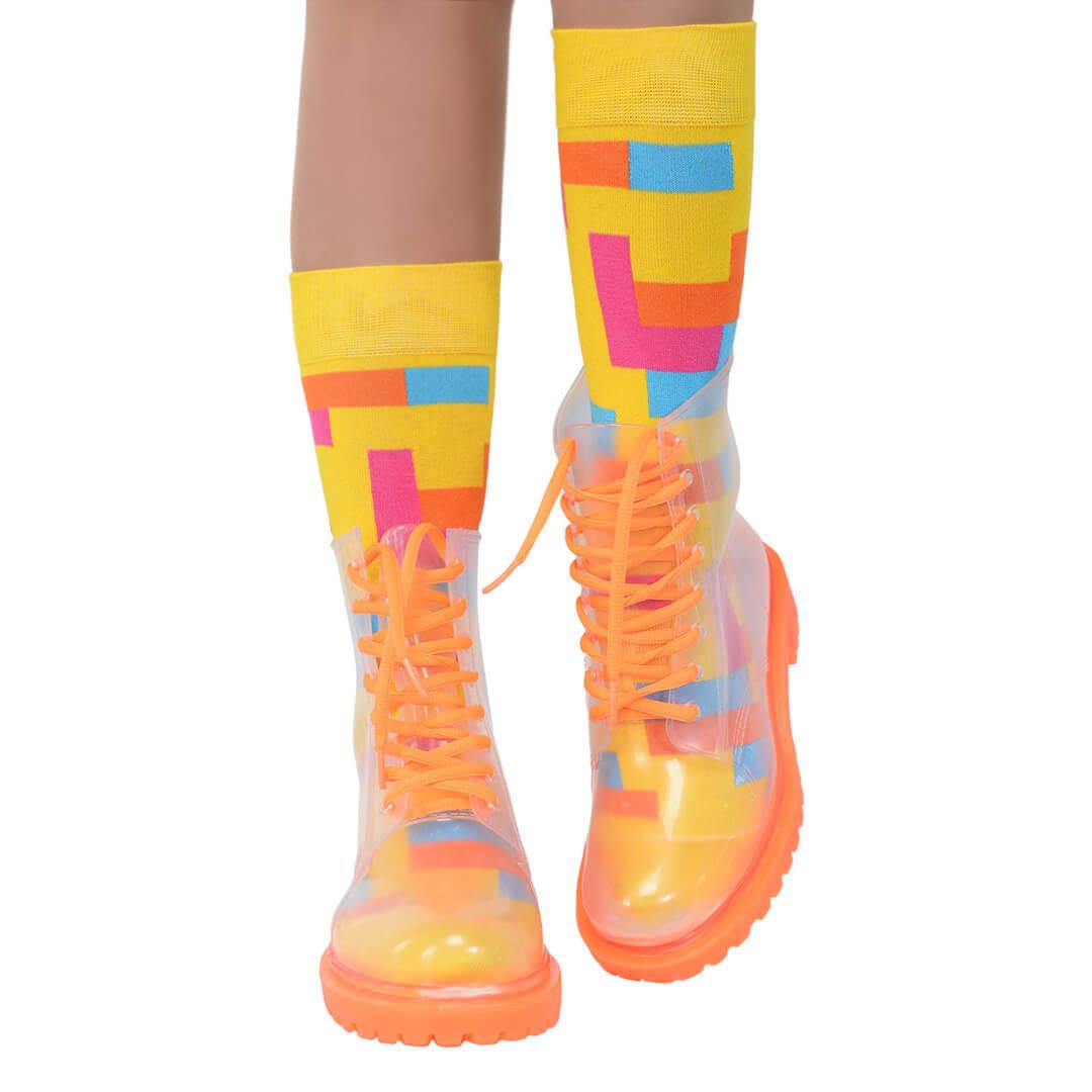 Прозрачные ботинки женские invisible-shoes оранжевые