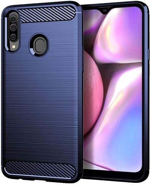Чехол для Samsung Galaxy A20S цвет Blue (синий), серия Carbon от Caseport