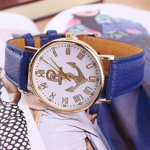 Купить Часы в морском стиле с золотым якорем (королевский синий) в Магазине тельняшек