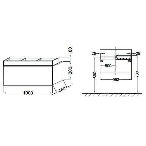 Комплект мебели Jacob Delafon Terrace 100 см (тумба с раковиной+зеркало)