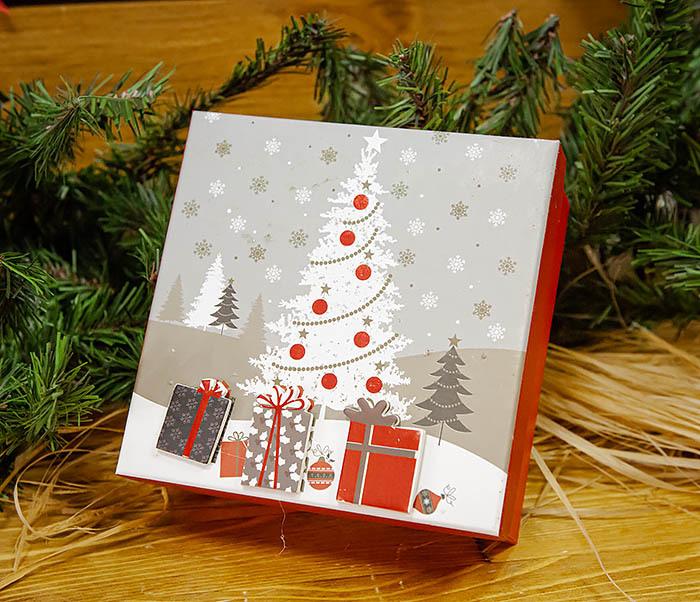 BOX262-1 Картонная коробка для новогодних подарков с елкой (16*16*7 см) фото 02