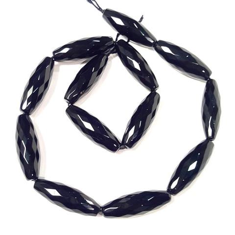 Бусина оникс гранёный черный  30 х 10 мм 1 бусина