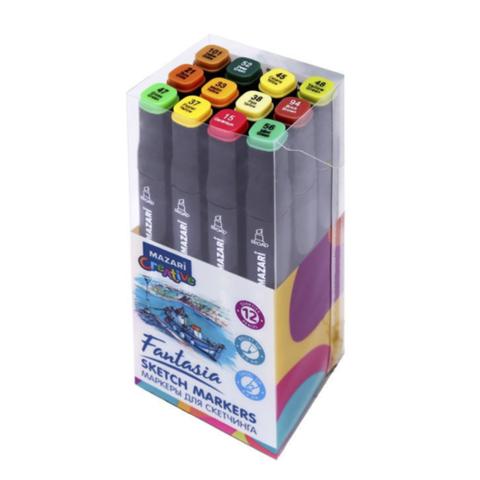 Mazari Fantasia набор маркеров для скетчинга 12 шт двусторонние спиртовые пуля/долото 3.0-6.2 мм (осенние)
