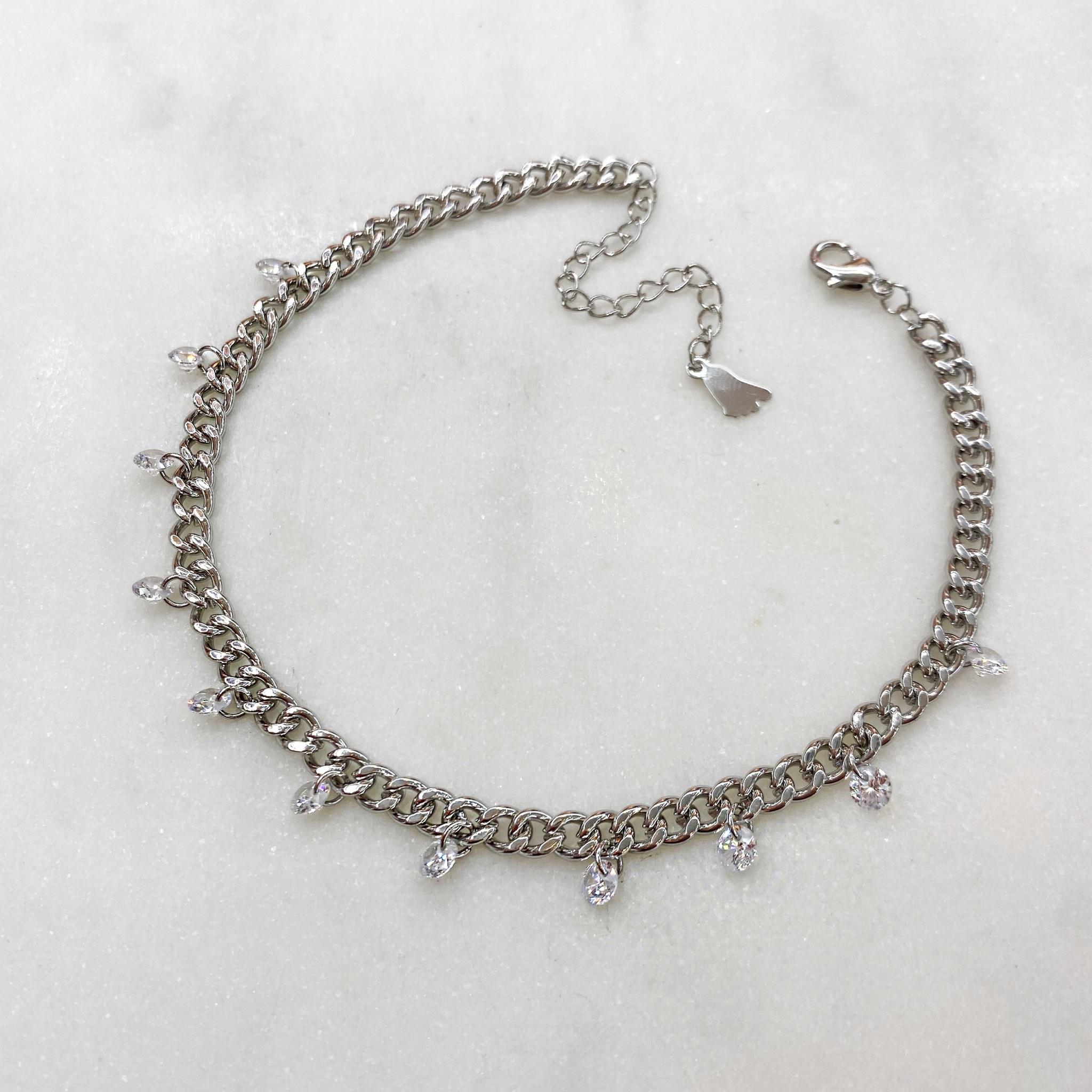 Анклет на панцирной цепи с круглыми кристальными подвесками (серебристый)