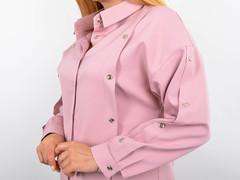 Ліка. Офісна жіноча блуза на великий розмір. Пудра.