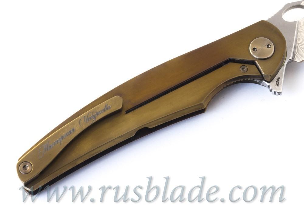 Cheburkov Golden Raven Damascus Folding Knife Gold Plated - фотография