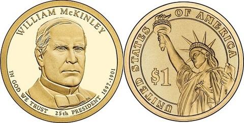 1 доллар 25-й президент США Уильям МакКинли 2013 год