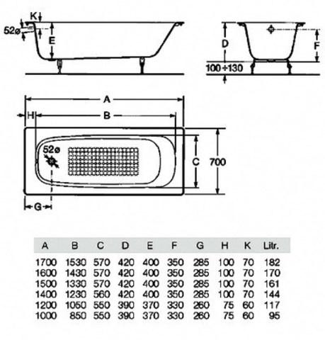 Чугунная ванна Roca Continental 170x70 21291100R схема