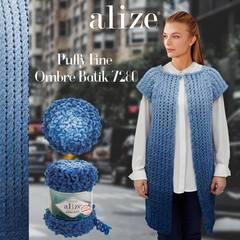 Пряжа Alize Puffy Fine Ombre Batik цвет 7280