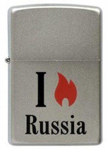 Зажигалка ZIPPO Classic Satin Chrome™ Надпись с фирменным пламенем Zippo ZP-205 Flame Russia