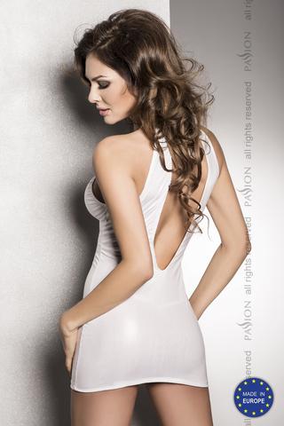 Страстное белое платье с глубоким декольте, открытой спиной и трусики  FEMI white L/XL 10756PAS