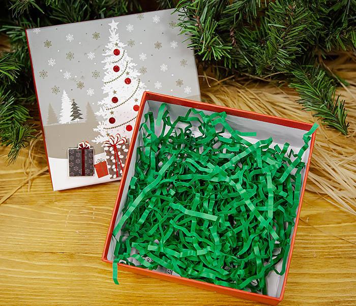 BOX262-1 Картонная коробка для новогодних подарков с елкой (16*16*7 см) фото 04